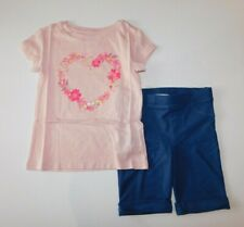NWT GAP/Epic Threads Girl 2 Pc Set Pink Floral Heart T-Shirt/Bermuda Shorts XS