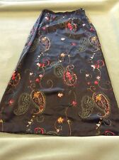Laura Ashley 100% Silk Olive Green Embroidered Maxi Skirt SZ 10