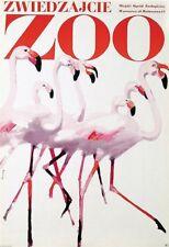 ZWIEDZAJCIE ZOO FLAMINGOS Vintage 1967 Polish A1 poster WALDEMAR SWIERZY NM