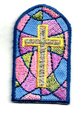 Stained Glass Window - Cross - Christian - Embroidered Iron On Applique Patch