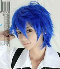 VOCALOID Kaito blue Short Anime Cosplay Costume Wig Party Hair + wig cap + Track