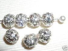 12 6mm Swarovski Rhinestone Beads Silver/Crystal  RH601