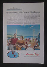 Canadian Pacific White Empress Cruises 1960 Original Vintage Print Ad