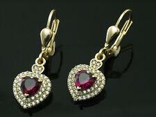 333 Gold Ohrringe mit Rubin Herzen und Zirkonia 28 mm Länge 1 Paar mit Brisur