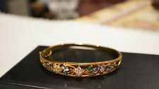 Bradford Exchange Bge Gold Tone With Crystal Flowers Bangle Bracelet Size 7