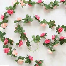 Fake Rose Vine Flowers Plants Hanging Rose Ivy Home Wedding Decor Garden Pa V3K1
