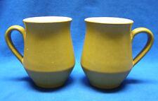 2 Denby Ode Pattern Stoneware Mugs Mustard Yellow