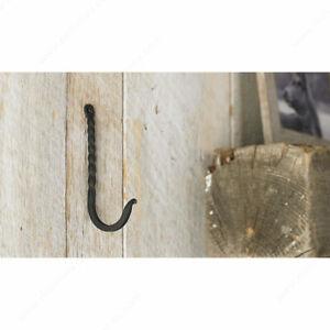 Richelieu Single Black Iron Forged Twisted Style Rustic Hook Bath Towel Coat Hat