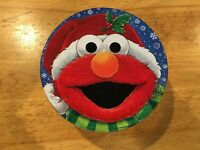 ELMO & FRIENDS Sesame Street Christmas Round Tin Container/Canister Free Ship!