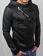 5517 Sweatshirt Pullover Kapuzenpullover Schwarz Sweat Pulli Kunstleder