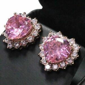 4Ctw Sapphire & Diamond Heart Earring Stud Women Jewelry 14K Rose Gold Finish