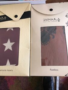 Zohara Art On Tights. 2 Pairs. Footless Tights. One Size. New In Packaging.