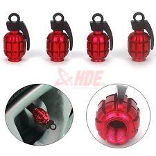 (4) Ruby Red Grenade Bomb Aluminum Tire Rim Valve Stem Caps Car Bike Dust Covers