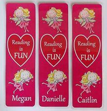 3 CHILDRENS PERSONALISED BOOKMARKS,'FAIRIES',I LOVE READING.LAMINATED.18cmx5cm