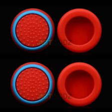 4 PCS Thumbstick Grips Cap Cover for PS4 Xbox One Controller Red with Blue Edge