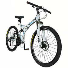 "Xspec 26"" 21 Speed Folding Mountain Bike Bicycle Trail Commuter  White"
