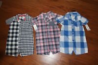 NWT Carters Baby Boy One Piece Outfits sz 24 Months Set of 3 Retail $54