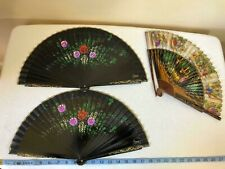 Antique Vtg folding Hand Fans hand painted absolutely beautiful work of art