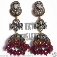Vintage 4.74Cts Rose Antique Cut Diamond Ruby Sterling Silver Jewelry Earring