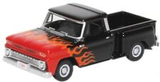 1:87 Scale 1965 Chevrolet Stepside Pick-up - Black w/Flames - Oxford #87Cp65004