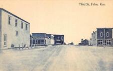 FALUN, KS Third Street Scene Kansas Vintage ca 1910s Cyanotype Postcard