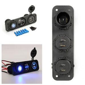 12V Offroad Rocker Switch Panel SUV Car Boat Voltmeter 2 USB Charger w/ fittings