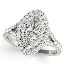 NEW 14k WHITE GOLD SEMI-MOUNT DIAMOND MARQUISE CUT HALO ENGAGEMENT RING 1ct.