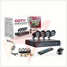 KIT VIDEOSORVEGLIANZA,h264 CCTV 4 CANALI TELECAMERA INFRAROSSI+DVR E ALIMENTATOR
