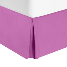 Luxury Pleated Tailored Bed Skirt - 14� Drop Dust Ruffle, King - Orchid Purple