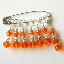 KNITTING ACCESSORIES. STITCH MARKERS. CRYSTAL BEADS HANDMADE METAL RINGS  #147