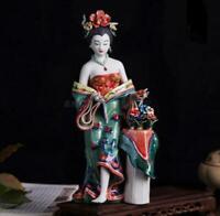 "10.6"" Chinese Handmade Porcelain Beautiful Woman Yang Gui Fei Figurines Statues"