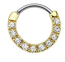 16g Septum Clicker Gem Paved Clear Cz 24k Gold Anodized Over Surgical Steel