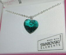 """Green Crystal Heart Necklace New 18"""" Silver Tone Chain Boxed Made with Swarovski"""