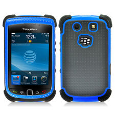 Black With Blue Hard Hybrid Case Cover for Blackberry Torch 9800  9810