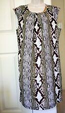 MICHAEL KORS Ecru Chain Snakeskin Print Sleevess Dress Gold Chain $225 Sz 12 NWT