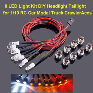 8Pcs LED Lights DIY Headlight Taillight for 1/10 RC Car Model Truck Crawler Accs