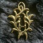 Decorative Vintage Brass Rococo Escutcheon, Keyhole Cover. Furniture Restoration