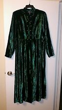 Sharon Young Beautiful Vintage Emerald Green Velvet Maxi Dress - 12