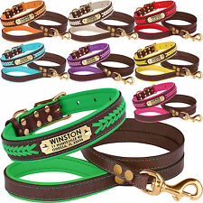 Leather Dog Collar Leash Set Personalized Dog Collars Puppy Small Large S M L XL