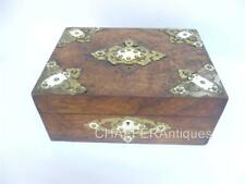 Antique English Burr Walnut Box with Brass & Bone Mounts c.1860