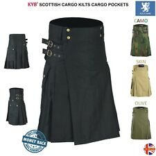 Mens Scottish Working Utility KILT Deluxe KILTS Cotton Cargo Pockets Work Skirts