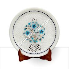 "9"" White Round Marble Dining Serving Plate Filigree Inlay Floral Art Decor Gift"