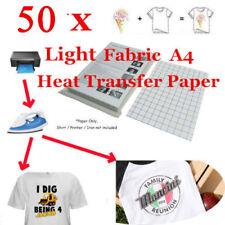 50 Sheet-T-Shirt Inkjet Iron-On Heat Transfer Paper, For Light Fabric,A4 US Ship