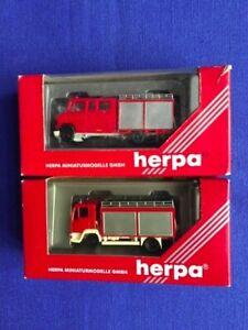 Herpa lotto 2 modellini scala 1/87 camion vigili del fuoco