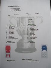 1983-84 League Cup Final Liverpool v Everton matchsheet