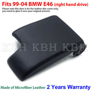 Leather Armrest Console Lid Cover Skin for BMW E46 3 Series 1999-2004 Black RHD