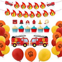 Luftballons Geburtstag Party Deko Set Folien Feuerwehrmann PKW Auto Thema Kinder