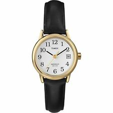 Ladies Timex Indiglo Easy Reader Black Leather Band White Dial Date Watch T2H341