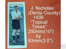 #D80.  1936 SOCCER  FOOTBALL CARD - DERBY COUNTY, J. NICHOLAS