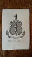 ANTIQUE  EX LIBRIS BOOKPLATE  - JAMES J CORDES
